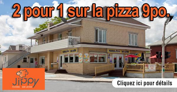 2 pour 1 sur la pizza 9 pouces.
